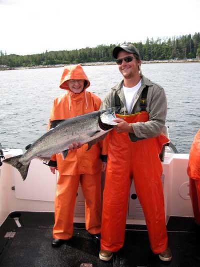 Salmon fishing with Big Blue Charters in Alaska.