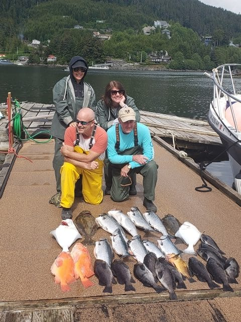 June 24,2019 - Group Fishing Catch with Big Blue Charters, Alaska fishing for Salmon, Yellow Eye, Link Cod and Halibut