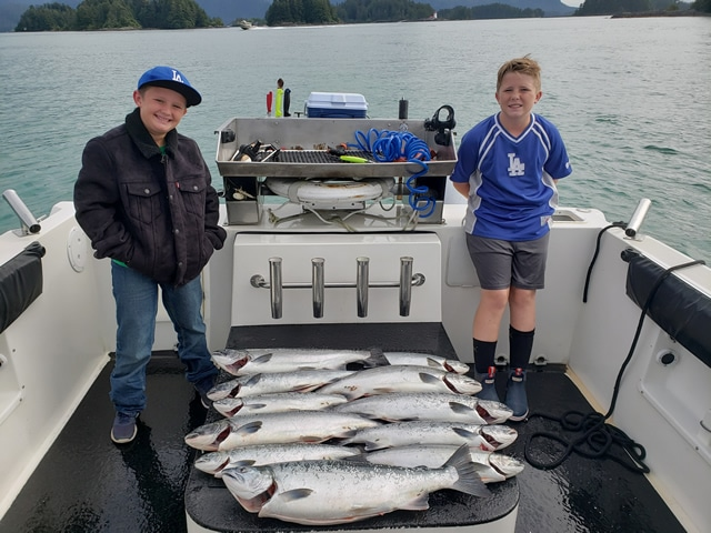August 16, 2019- Young fishermen in Alaska with a great day's catch! Big Blue Charters